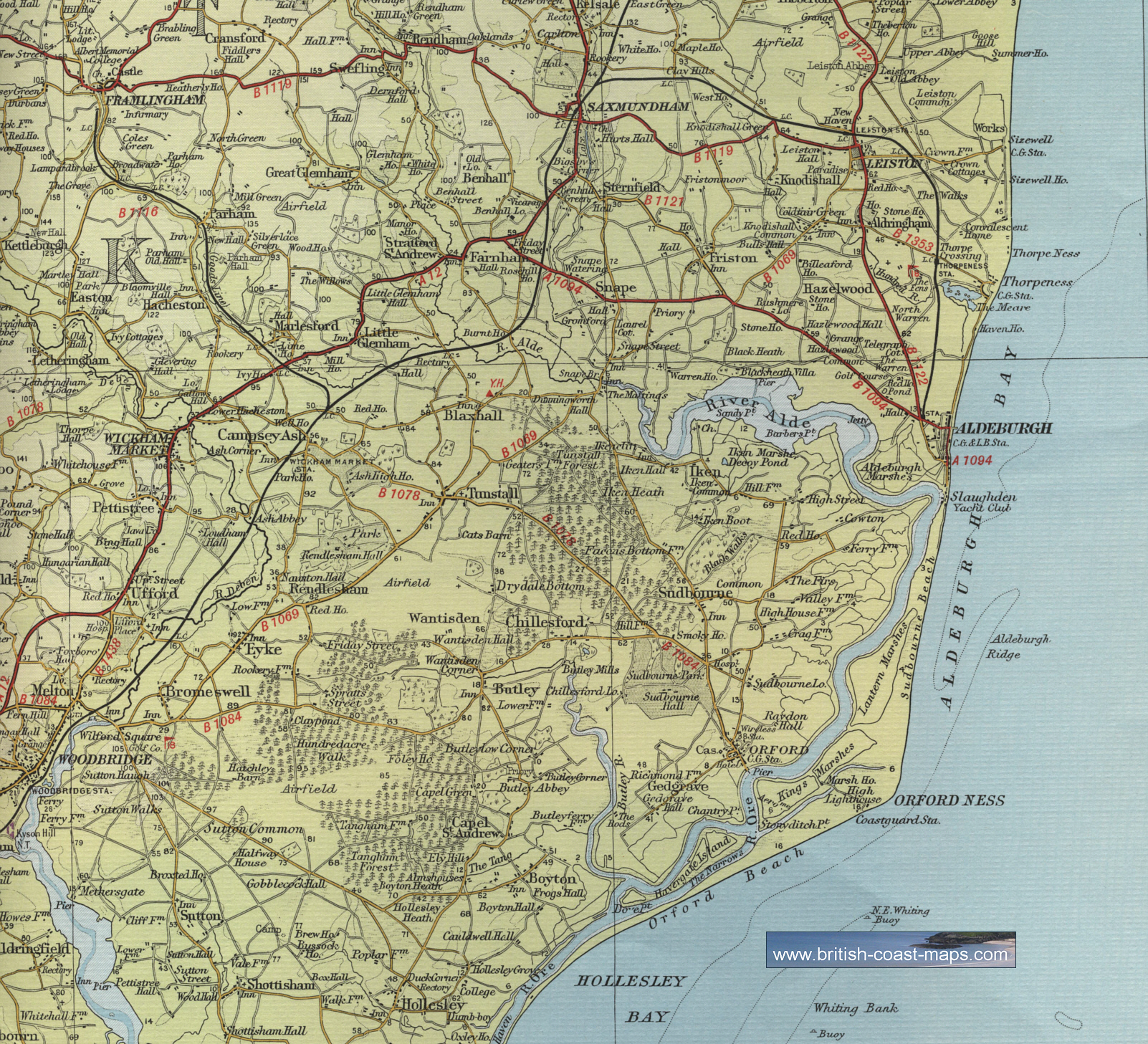 S E England Map.Aldeburgh Map