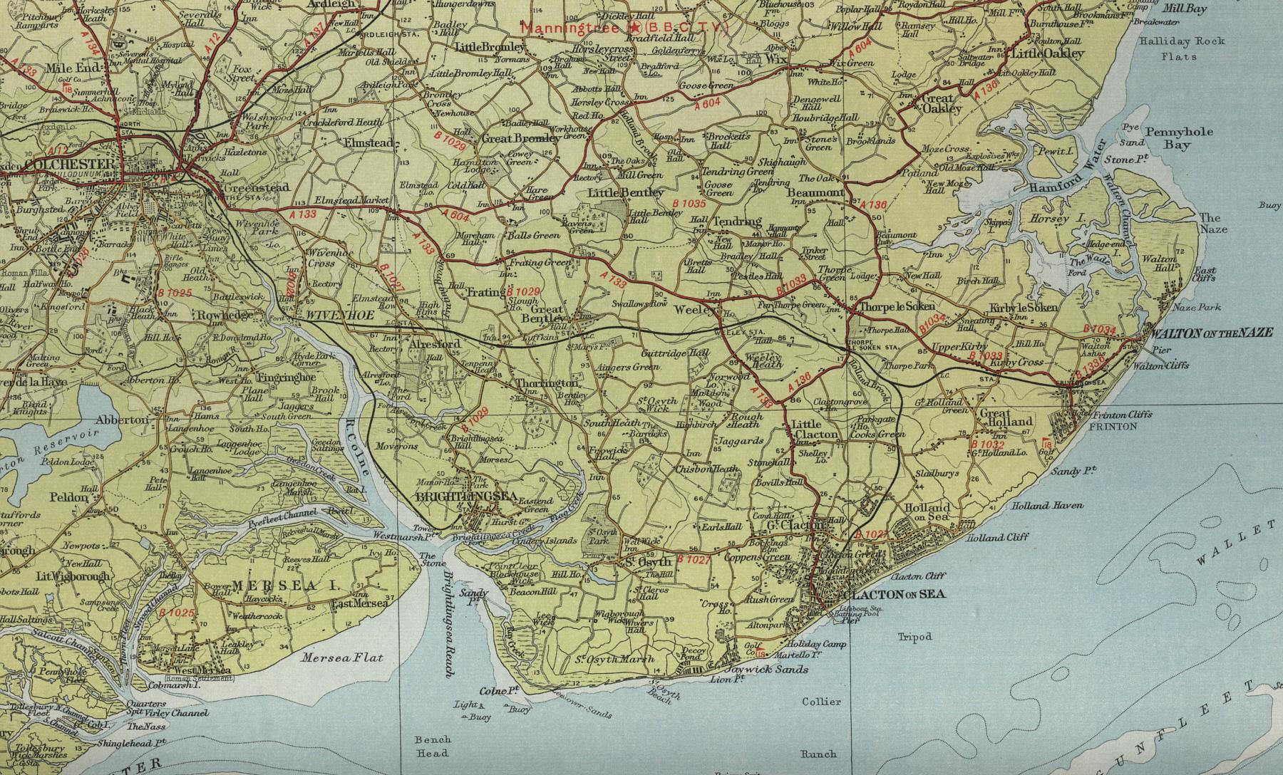 Worksheet. Clacton Map