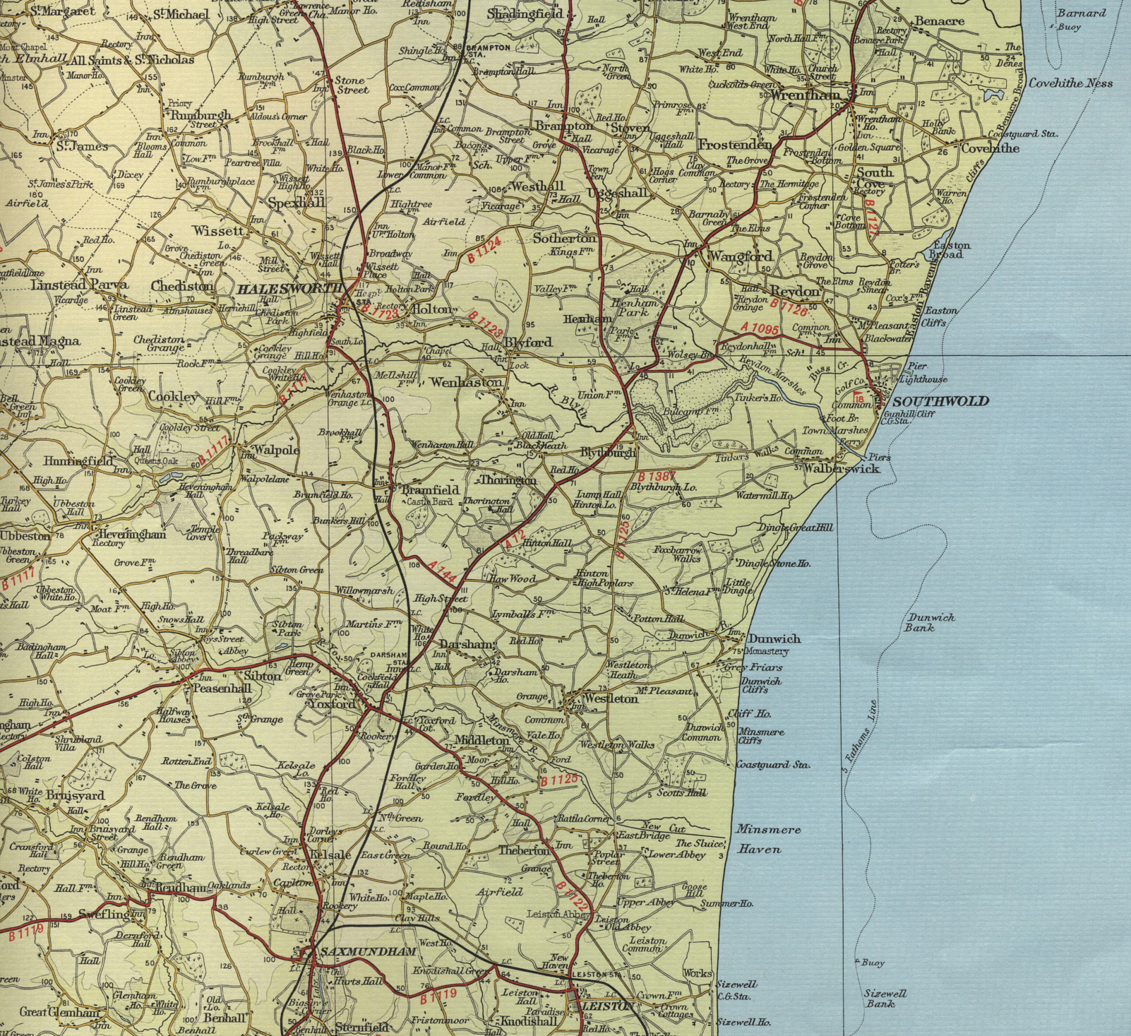 Map Of Suffolk Coast Southwold Map Map Of Suffolk Coast